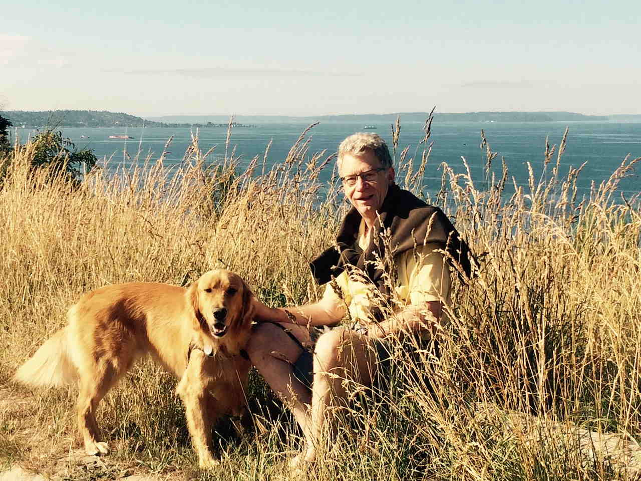 Author Herb Bowie with Golden Retriever Hank